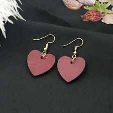 Fashion Retro Wood Heart Hanging Earrings Ear Clip Jewelry Gifts Wine Red