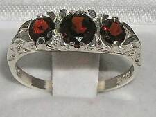 Luxury Ladies Solid 925 Sterling Silver Natural Garnet Victorian Trilogy Ring