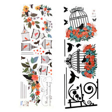 DIY Wall Stickers Mural Decal Colorful Flowers Wreath Birdcages+Birds Decoration