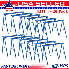 New 2 Pack Heavy Duty Saw Horse Steel Folding Legs Portable Sawhorse Pair LOT TO