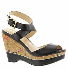 J.Renee Womens sarila Leather Open Toe Casual Platform Sandals