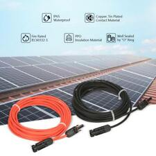 Solar Panel Extension Cable 20ft &10ft 10 AWG PV Wire w/ M/F MC4 Connectors Z0E4