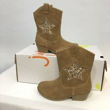 Jumping Beans Chrissa Girl's Toddler Cowgirl Style Tan Boots Size - NEW