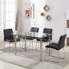 Glass Dining Table and 4 Faux Leather Seld Base Chrome Kitchen Room Chairs Set