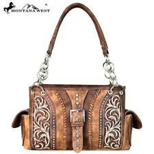 Montana West Buckle Boot Scroll Western Cowgirl Crystal Detail Satchel Purse Bag