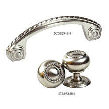 KPT ST3693 Brushed Nickel Rope Cabinet Knob removable Back-Plate and Rope Pull