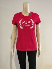 Abercrombie & Fitch T-Shirt Women's S/Sleeve Embellished Logo Tee Top M Red NWT
