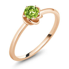 0.50 Ct Round Green Peridot 10K Rose Gold Solitaire Ring