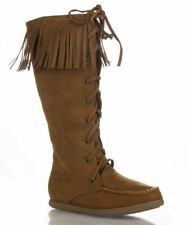 Soda Vinery Vegan Suede Moccasin Round Toe Knee High Fringe Boots TAN