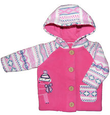 Baby Girls Fleece Hooded Jackets Fairisle Sleeves 0-1 Months and 0-3 months