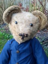LARGE ANTIQUE( pre WW2) TEDDY BEAR WITH GLASS EYE'S AND HUMP