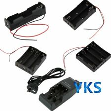 Battery Storage Case Box Holder with Wire Leads / AU DC Charger For 18650 AQ