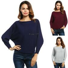 Women Slash Neck Batwing Sleeves Loose Knitted Pullover Ribbed Sweater OO55 01