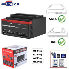 2.5''/3.5'' SATA IDE HDD Docking Station Enclosure SD TF Card Reader All in One