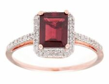 10k Rose Gold Emerald-Cut 2.20ct Garnet and Pave Diamond Ring
