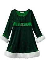 Bonnie Jean New size 4 or 14 Green Faux Fur Sparkle Velvet Santa Christmas Dress