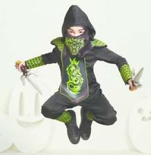 Kids' Light Up Dragon Ninja Black Green Youth Halloween Costume Size M and L