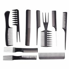 Pro Salon Hair Styling Hairdresser Hairdressing Barbers Brush Combs Black 10Pcs