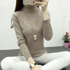 Fashion Women's Slim Fit Warm neck Knitted Sweater Classic Pullover Tops Jumper