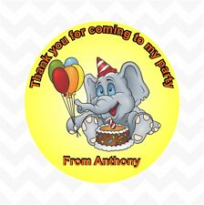 Elephant personalised birthday party favour thank you stickers custom name