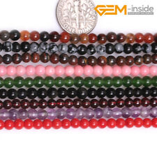 """Wholesale 8mm Natural Round Assorted Gemstone Loose Beads Jewellery Making 15""""CA"""