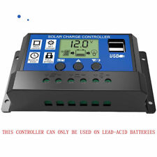 10-30A Solar Charge Controller 12V 24V LCD Display Dual USB Solar Panel Charger
