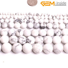 """Natural Smooth White Howlite Round Stone Beads For Jewellery Making Strand 15""""CA"""