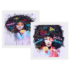 2 Panel Canvas Oil Painting Wall Decor Art Hanging Posters - Afro-hair Girl