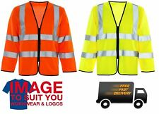 HI VIS LONG SLEEVE VEST ZIP SAFETY WAISTCOAT WORKWEAR HIGH VISIBILITY