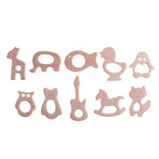 Wooden Safe Natural Cute Animal Shape Ring Baby Teether Teething Shower Toy