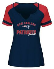 New England Patriots NFL Women's Navy Notched Short Sleeve Tee T-shirts: M