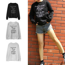 Pullover Womens Unicorn Letter Print Hoodie Long Sleeve Round Neck New