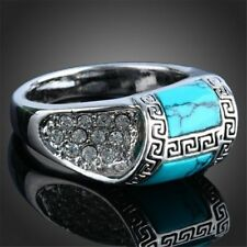 Fashion Men Women Turquoise Silver Plated Vintage Carved Finger Rings Jewelry CN