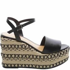 SCHUTZ Women's Galaze Platform Sandals Black Leather Woven Espadrille Wedge