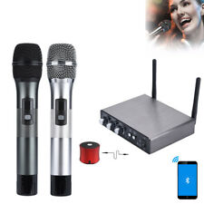 Dual Wireless Bluetooth Karaoke Handheld Microphone UHF Frequency+Receiver Box
