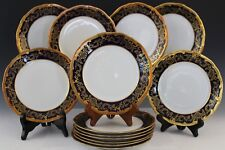 11Pc Echt Weimar Katharina German Porcelain Cobalt Gold Bread & Butter Plate Set