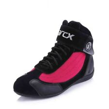 Light Pink Black Womens Boots Street Bike Leather Biker Motorcycle Shoes Riding