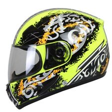 Motorcycle Full Face Helmet Motorbike Street Motor Riding Racing Yellow Decals