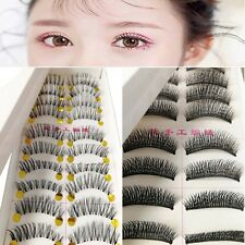 False Eyelashes Natural Makeup Handmade Eye Lashes Extension Cross Long 10 Pairs