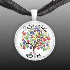 "I Love My Son Puzzle Piece Tree Autism Awareness Folk Art 1"" Pendant Necklace"