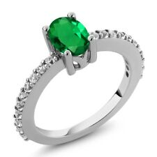 0.90 Ct Green Simulated Emerald White Created Sapphire 925 Sterling Silver Ring
