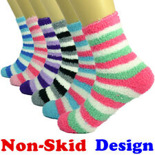 For Womens 3-10 Pairs Soft Cozy Fuzzy Socks Striped W/ Non-Skid Solid Slipper