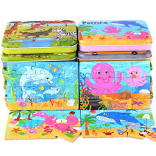 Wooden Jigsaw Puzzle Toys Educational Children Cartoons Puzzles Board Iron Boxes