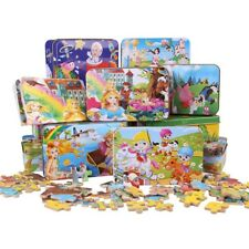 Wooden Jigsaw Puzzle Toys Animal Cartoon Puzzles Iron Boxes Educational Kids Toy