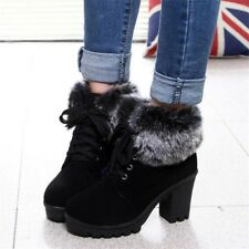 Winter Women's Suede Martin Boots Fur Lined Ankle Plush Chunky Heel Warm Shoes