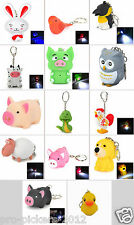 Mini LED Animal Charm Keychain Flashlight Torch Sound Effects Batteries Included