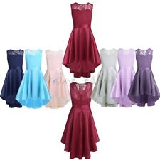 Flower Girls Dress Lace High-low Communion Party Pageant Bridesmaid Wedding Gown
