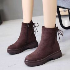Womens Suede Winter Martin Snow Boots Fur Lined Warm Round Toe Zip Side Shoes