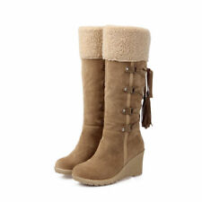 Winter New Women's Mid-Calf Suede Boots Warm Comfy High-Heeled Fur Lined Shoes