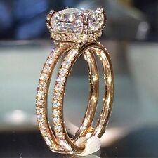 Women Sparkling 14K Gold Filled White Sapphire Ring Engagement Wedding Jewelry
